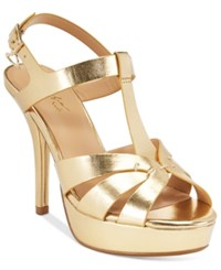 Thalia Sodi Raquell T Strap Platform Dress Sandals Only At Macy's Women's Shoes Gold
