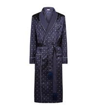 Derek Rose Verona Silk Jacquard Robe Male Navy