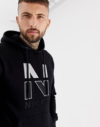 Nicce London Hoodie In Black With Chest Logo