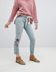 Maison Scotch Slim Tapered Fit Jeans With Embroidery Blue Dust