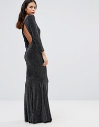 Honor Gold Sophia Backless Maxi Dress Black Silver