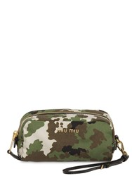 Miu Miu Camo Print Nylon Makeup Bag Military Green
