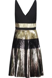 Proenza Schouler Metallic Plisse Crepe Mini Dress Silver