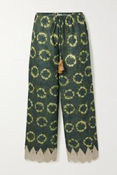 Miguelina Fifi Crochet Trimmed Printed Cotton Voile Pants Dark Green