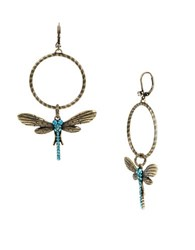 Betsey Johnson Throwback Crystal Pave Dragonfly Gypsy Hoop Earrings Gold