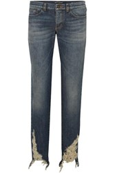 Saint Laurent Distressed Boyfriend Jeans Blue