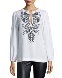 Nanette Lepore Long Sleeve Embroidered Peasant Blouse Ivory Black