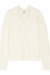 Acne Studios Bernice Ribbed Cotton Blend Sweater Off White