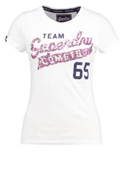 Superdry Team Comets Print Tshirt White Heathered