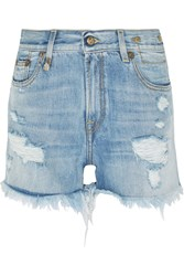 R 13 R13 Distressed Denim Shorts Light Denim