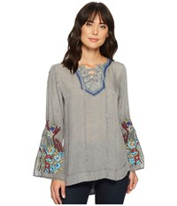 Scully Cordia Lace Up Top Charcoal Clothing Gray