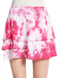 Saks Fifth Avenue Red Tie Dyed Gauze Tiered Skirt