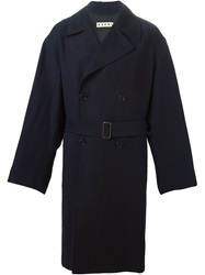 Marni Double Breasted Trench Coat Blue