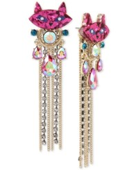 Betsey Johnson Two Tone Stone And Crystal Kitty Cat Fringe Drop Earrings Multi