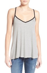 Women's Socialite Stripe Knit Lace Up Tank White Black