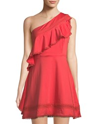 Red Carter One Shoulder Fit And Flare Dress W Ruffle Detail Red
