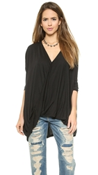 Blaque Label Draped Wrap Top Black
