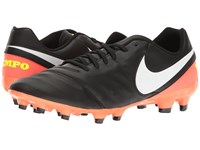 Nike Tiempo Genio Ii Leather Fg Black White Hyper Orange Volt Men's Soccer Shoes
