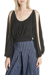 Tracy Reese Slit Sleeve Peasant Top Black