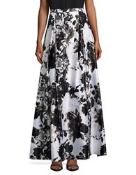 Alex Evenings Floral A Line Skirt Black White
