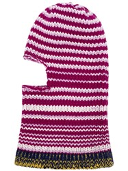 Calvin Klein 205W39nyc Multicoloured Striped Wool Balaclava Pink