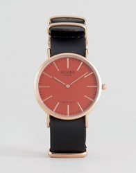 Reclaimed Vintage Leather Watch With Pink Dial Black