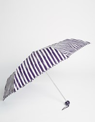 Lulu Guinness Superslim Umbrella In Painterly Stripe Print Black