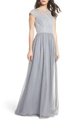 Hayley Paige Occasions 'S Embroidered Bodice Net Gown Pewter