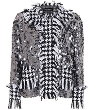 Dolce And Gabbana Sequined Houndstooth Jacket Silver
