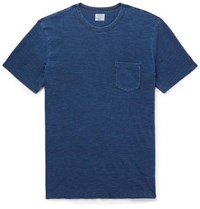Faherty Indigo Dyed Slub Cotton Jersey T Shirt Indigo
