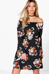Boohoo Off The Shoulder Flare Sleeve Skater Dress Black