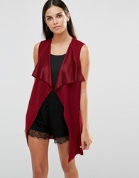 Ax Paris Sleeveless Lightweight Jacket Wine Purple