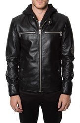Men's 7 Diamonds 'Norton' Leather Moto Jacket With Removable Knit Hooded Zip Bib