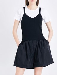 Chocoolate Ribbed Knitted Cotton Jersey Top Black