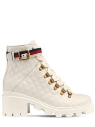 Gucci 40Mm Trip Quilted Leather Boots White