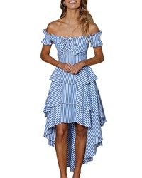 Stylekeepers Blissful Moments Off The Shoulder Dress Blue Pattern