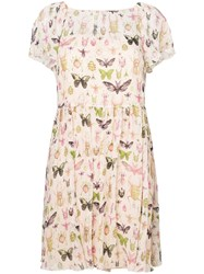 Red Valentino Bug Print Sundress Silk Polyester Nude Neutrals