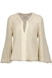 Iro Koltone Frayed Woven Cotton Blend Sweater Ecru