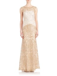 Tadashi Shoji Embroidered Lace Gown Ivory Gold