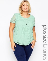 Junarose Short Sleeve Lace Top Aquafoam