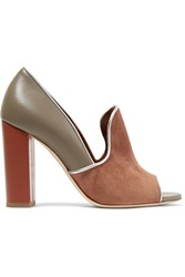 Malone Souliers Grace Metallic Trimmed Suede And Leather Pumps Gray