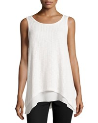 Casual Couture Layered Trapeze Tank W Flyaway Back Ivory