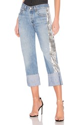 Kendall Kylie Sequin Repurposed Denim Medium Wash And Silver Multi