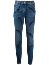Moschino Embroidered Mid Rise Skinny Jeans 60