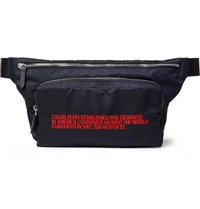 Calvin Klein 205W39nyc Leather Trimmed Embroidered Shell Belt Bag Navy