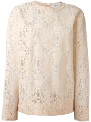 Dkny Cut Out Lace Sweater Nude Neutrals