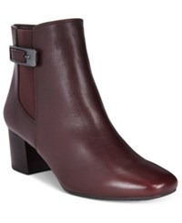 Bandolino Lethia Block Heel Booties Brown Leather