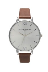 Topshop Olivia Burton Big Dial Brown And Silver Watch
