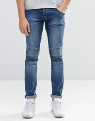 Loyalty And Faith Skinny Zip Biker Jean Stone Wash Blue