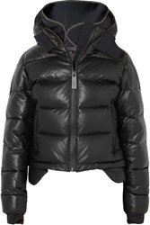 Templa Hooded Tech Jersey And Quilted Leather Down Jacket Black Gbp